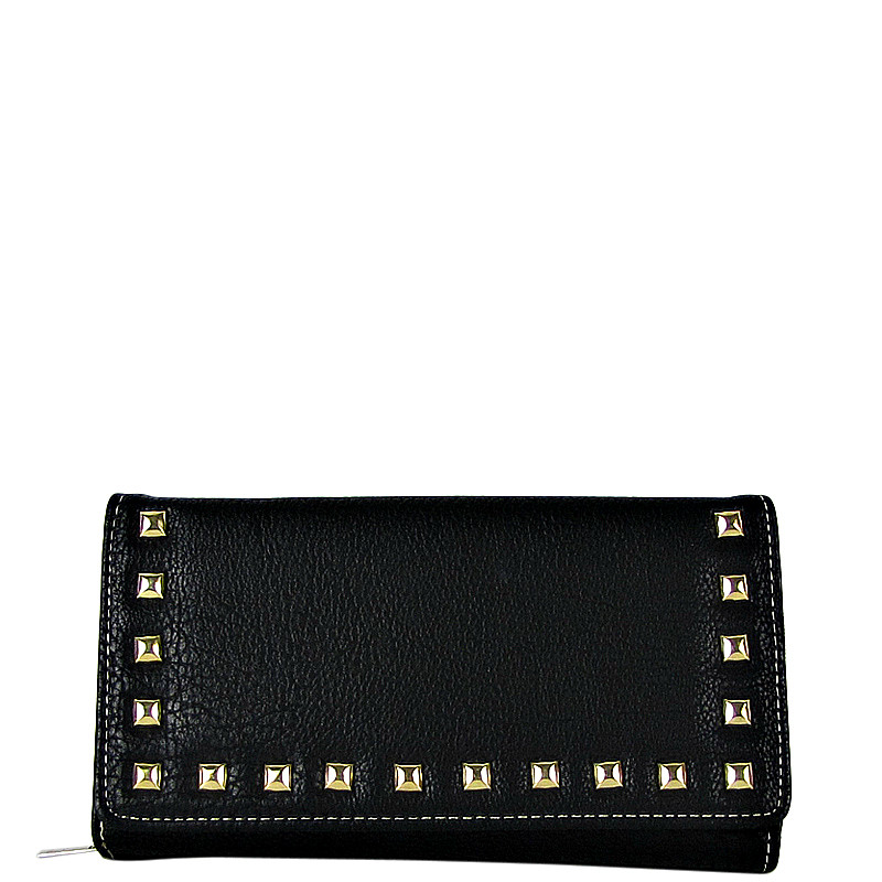 BLACK STUDDED LEATHERETTE LOOK CHECKBOOK WALLET CB1-1273BLK