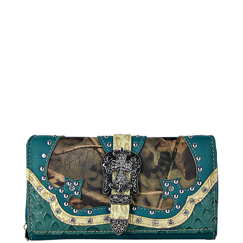 TURQUOISE RHINESTONE MOSSY CAMO BUCKLE LEATHERETTE LOOK CHECKBOOK WALLET CB1-0456TRQ