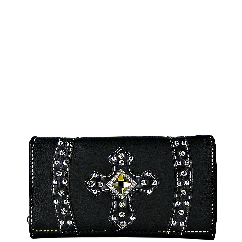 BLACK RHINESTONE CROSS LEATHERETTE LOOK CHECKBOOK WALLET CB1-0422BLK