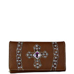 BROWN RHINESTONE CROSS LEATHERETTE LOOK CHECKBOOK WALLET CB1-0422BRN