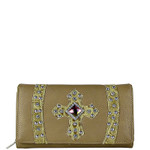BEIGE RHINESTONE CROSS LEATHERETTE LOOK CHECKBOOK WALLET CB1-0422BEI
