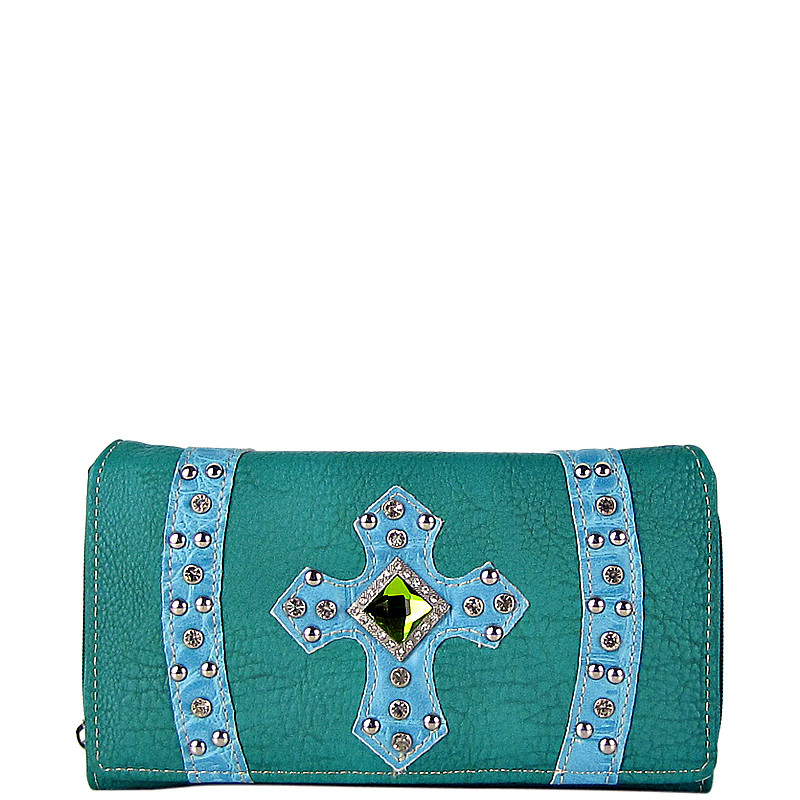 TURQUOISE RHINESTONE CROSS LEATHERETTE LOOK CHECKBOOK WALLET CB1-0422TRQ