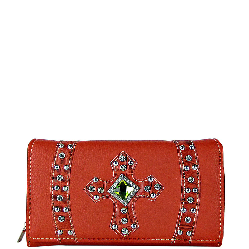 CORAL RHINESTONE CROSS LEATHERETTE LOOK CHECKBOOK WALLET CB1-0422CRL