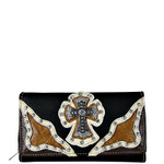 BLACK WESTERN RHINESTONE CROSS STITCHING LEATHERETTE LOOK CHECKBOOK WALLET CB1-0423BLK