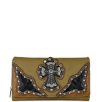 BEIGE WESTERN RHINESTONE CROSS STITCHING LEATHERETTE LOOK CHECKBOOK WALLET CB1-0423BEI