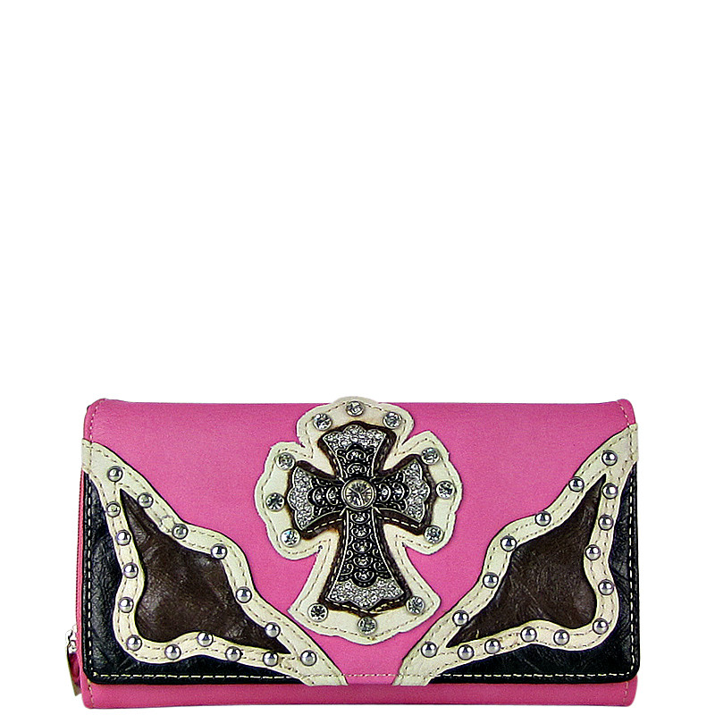 PINK WESTERN RHINESTONE CROSS STITCHING LEATHERETTE LOOK CHECKBOOK WALLET