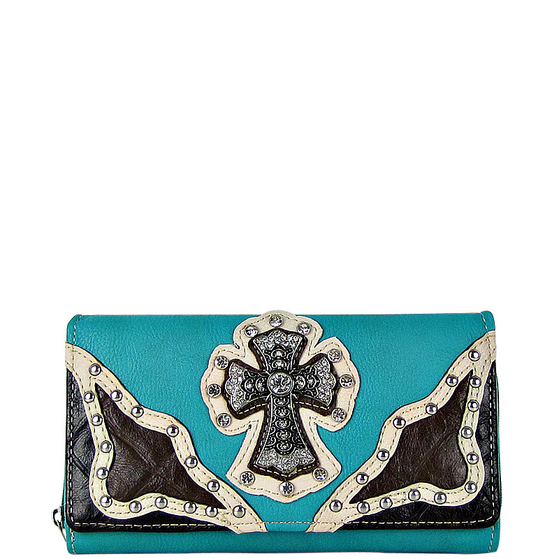TURQUOISE WESTERN RHINESTONE CROSS STITCHING LEATHERETTE LOOK CHECKBOOK WALLET CB1-0423TRQ