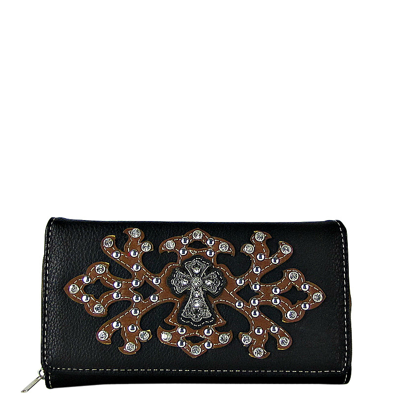 BROWN RHINESTONE CROSS PATTERN LEATHERETTE LOOK CHECKBOOK WALLET CB1-0424BRN