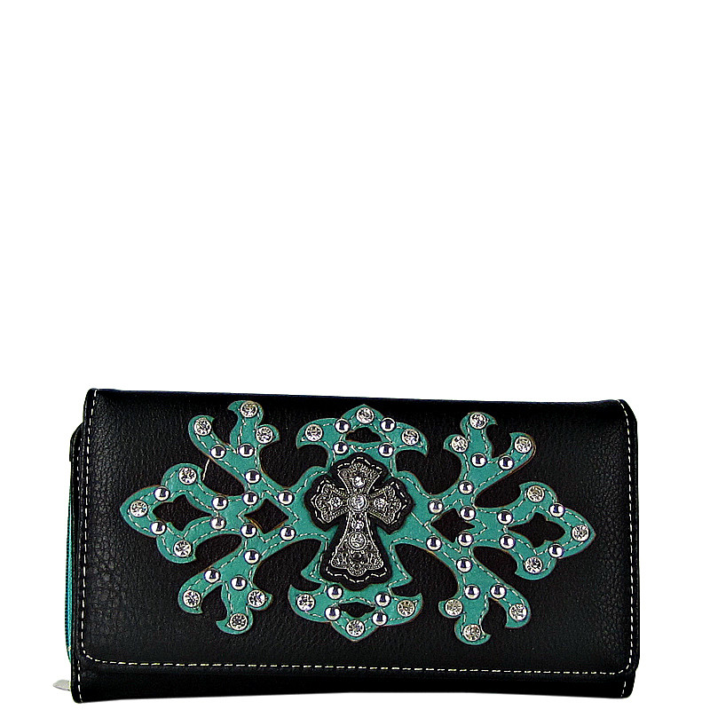 TURQUOISE RHINESTONE CROSS PATTERN LEATHERETTE LOOK CHECKBOOK WALLET CB1-0424TRQ