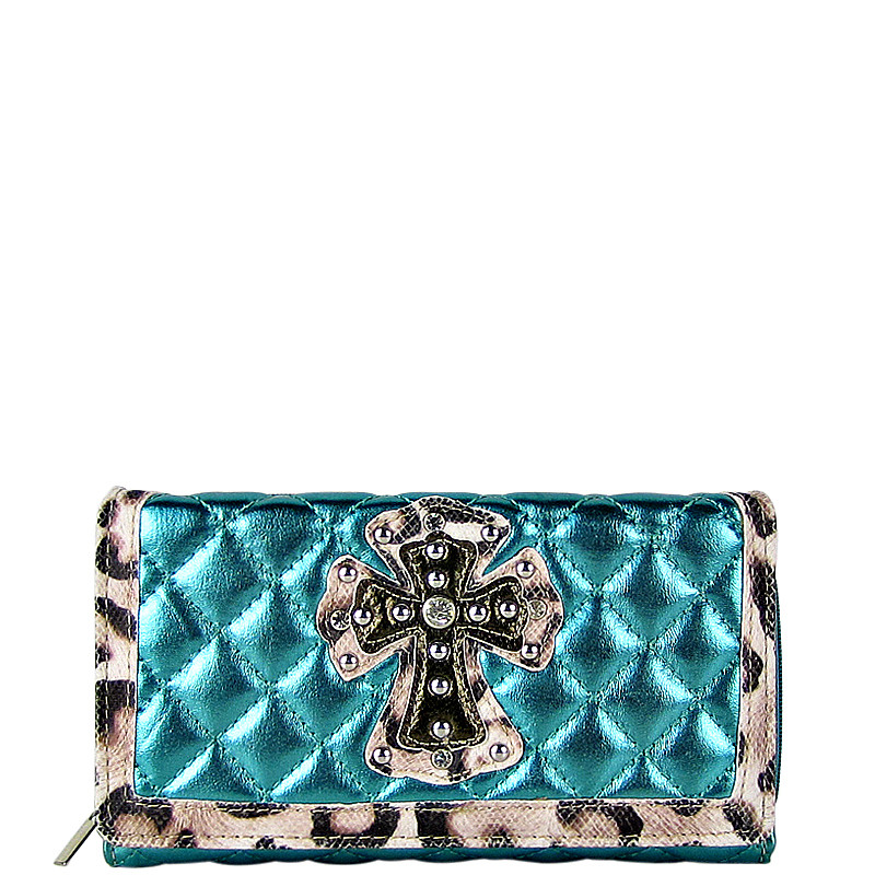 TURQUOISE RHINESTONE CROSS LEAPORD PATTERN SHINY METALLIC LEATHERETTE LOOK CHECKBOOK WALLET CB1-0425TRQ