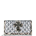 SILVER RHINESTONE CROSS LEOPARD PATTERN SHINY METALLIC LEATHERETTE LOOK CHECKBOOK WALLET CB1-0425SLV