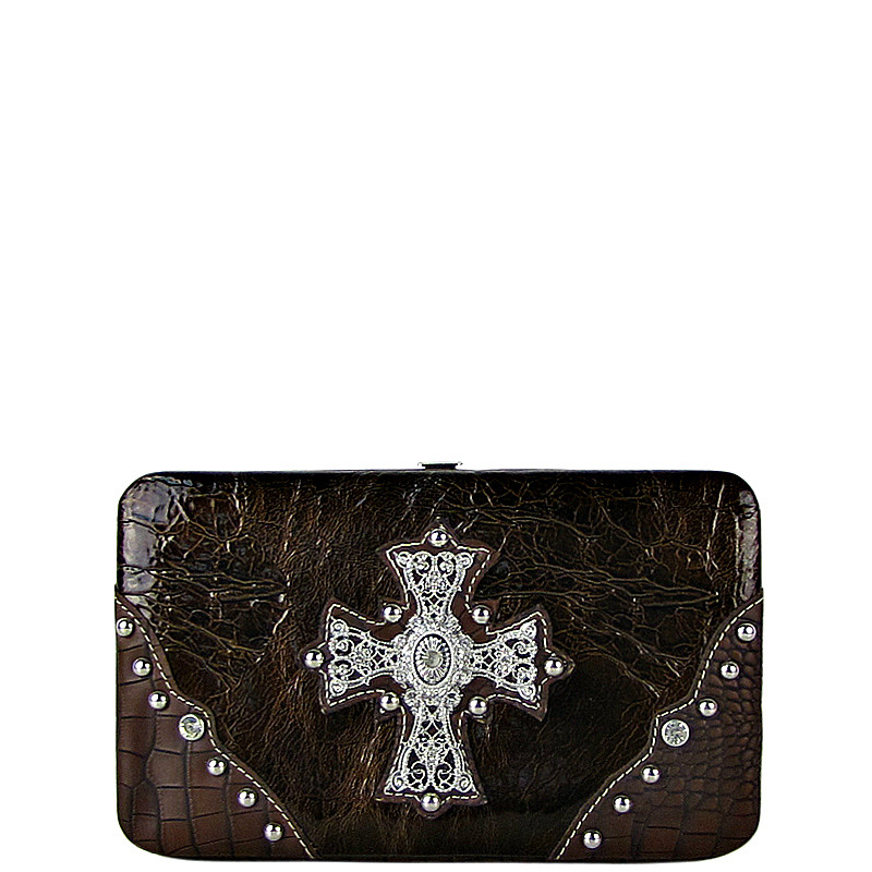 BROWN WESTERN RHINESTONE CROSS SHINY FLAT THICK WALLET FW2-0465BRN