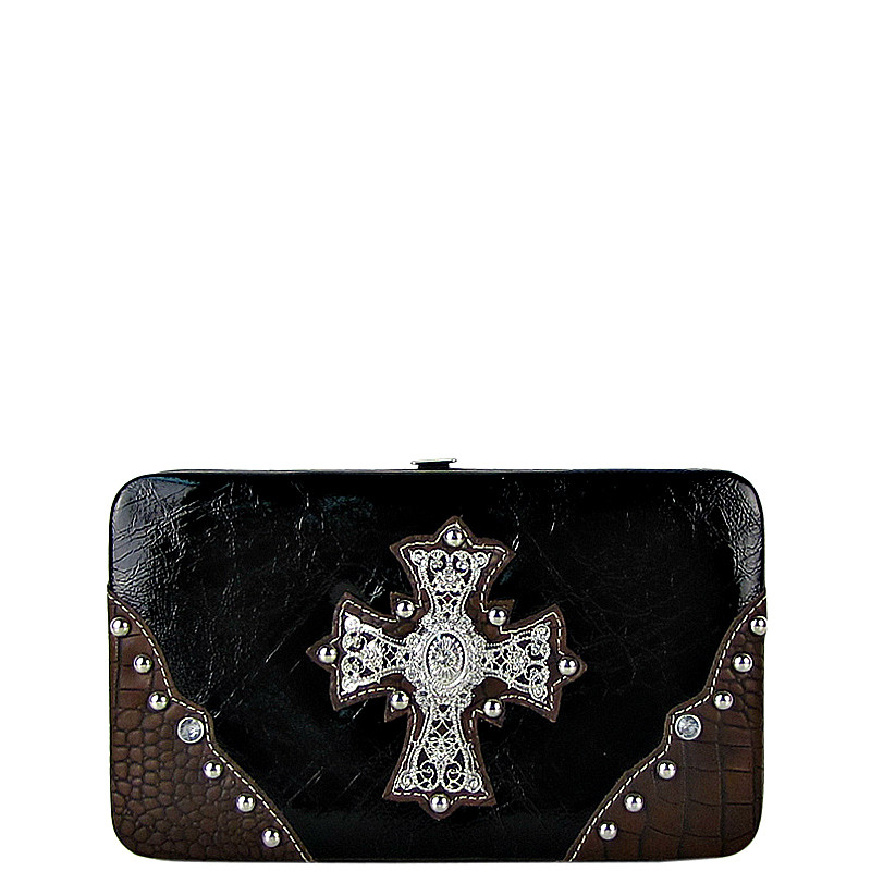 BLACK WESTERN RHINESTONE CROSS SHINY FLAT THICK WALLET FW2-0465BLK