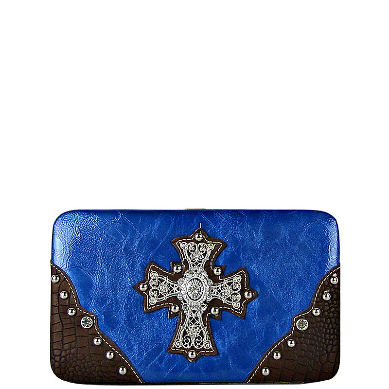 BLUE WESTERN RHINESTONE CROSS SHINY FLAT THICK WALLET FW2-0465BLU