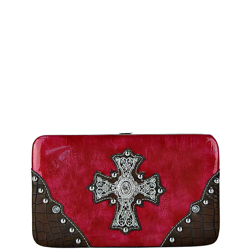PINK WESTERN RHINESTONE CROSS SHINY FLAT THICK WALLET FW2-0465PNK