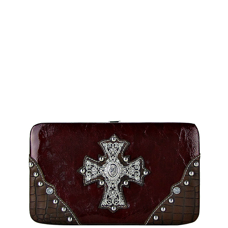 RED WESTERN RHINESTONE CROSS SHINY FLAT THICK WALLET FW2-0465RED