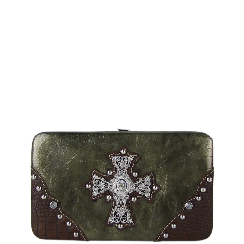 GRAY WESTERN RHINESTONE CROSS SHINY FLAT THICK WALLET FW2-0465GRY