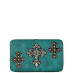 TURQUOISE WESTERN RHINESTONE CROSS PATTERN FLAT THICK WALLET FW2-0464TRQ