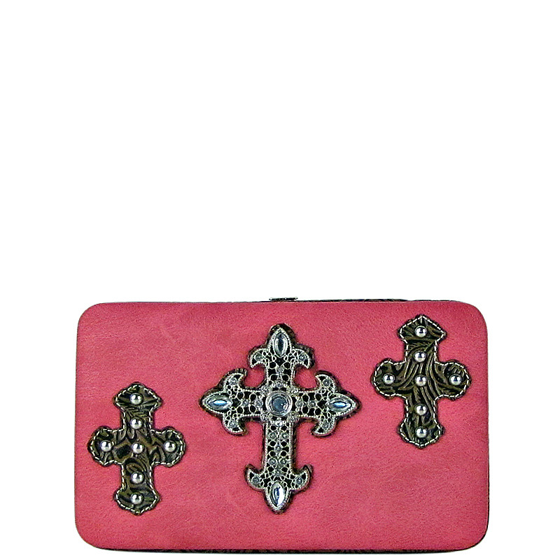 HOT PINK WESTERN RHINESTONE CROSS PATTERN FLAT THICK WALLET FW2-0464HPK