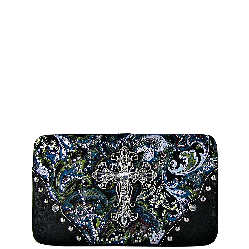BLUE RHINESTONE CROSS PAISLEY PATTERN FLAT THICK WALLET FW2-0475BLU