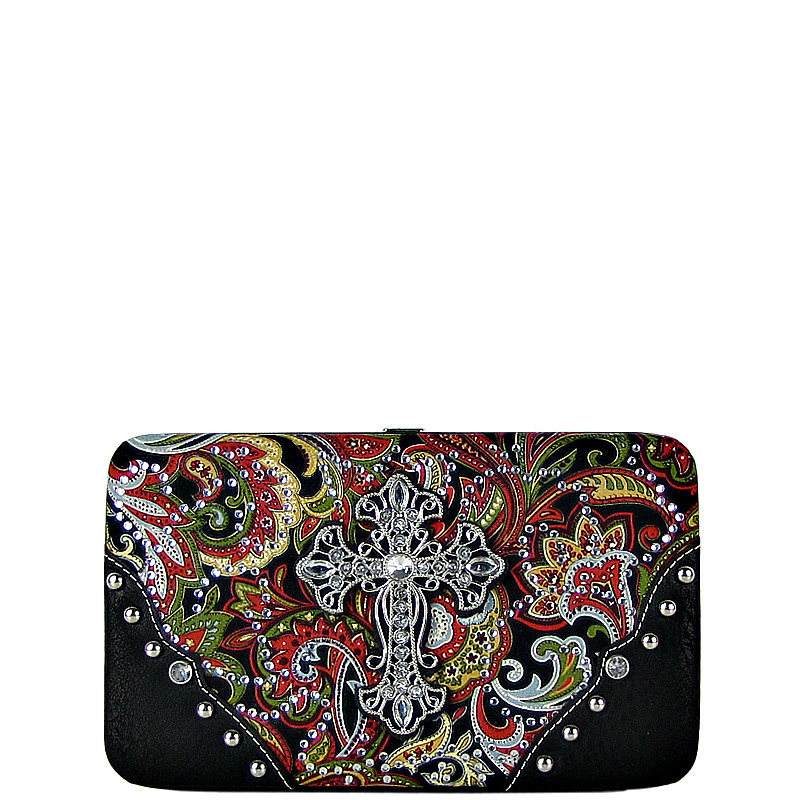 RED RHINESTONE CROSS PAISLEY PATTERN FLAT THICK WALLET FW2-0475RED