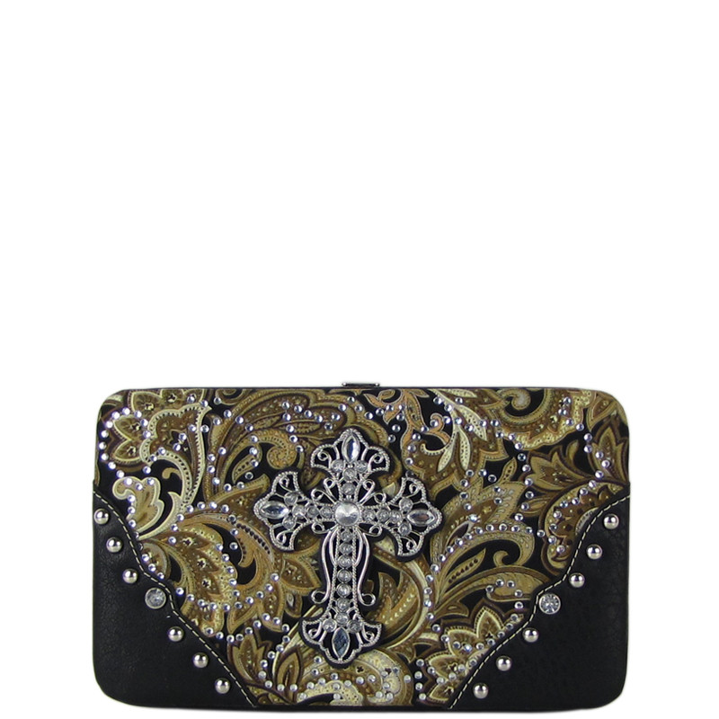 BROWN RHINESTONE CROSS PAISLEY PATTERN FLAT THICK WALLET FW2-0475BRN
