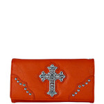 RED RHINESTONE CROSS  LEATHERETTE LOOK CHECKBOOK WALLET CB1-0451RED