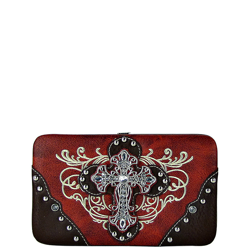 RED WESTERN RHINESTONE CROSS TOOLED FLAT THICK WALLET FW2-0477RED