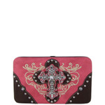 HOT PINK WESTERN RHINESTONE CROSS  TOOLED FLAT THICK WALLET FW2-0477PNK