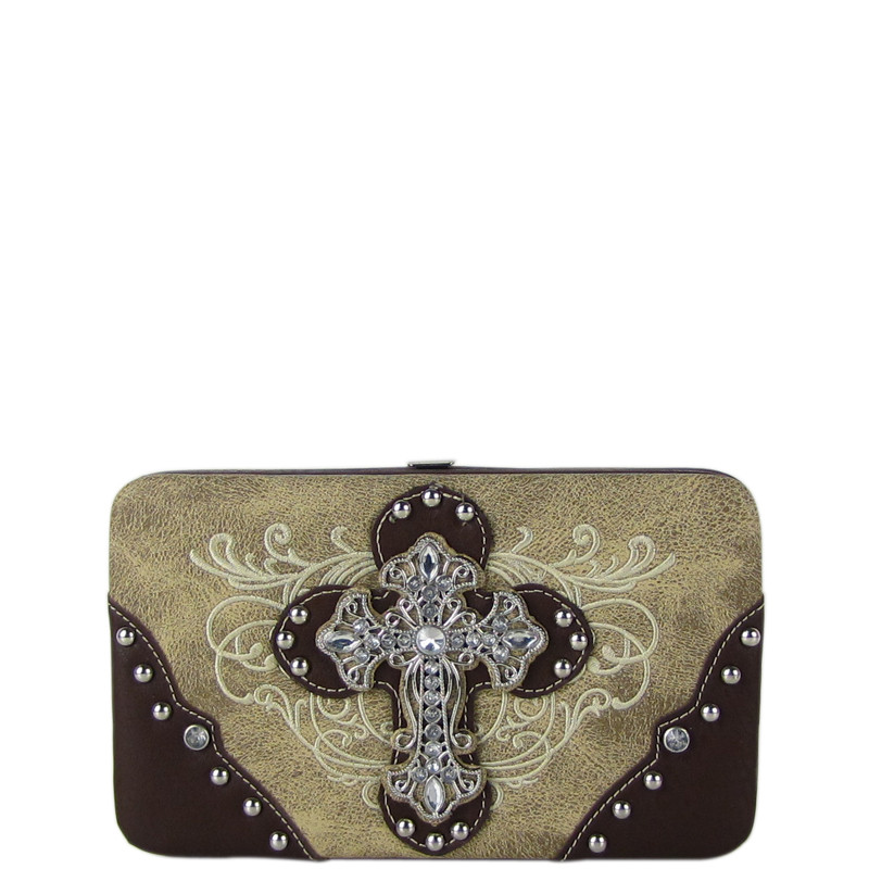 BEIGE WESTERN RHINESTONE CROSS TOOLED FLAT THICK WALLET FW2-0477BEI