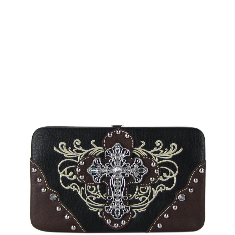 BLACK WESTERN RHINESTONE CROSS TOOLED FLAT THICK WALLET FW2-0477BLK