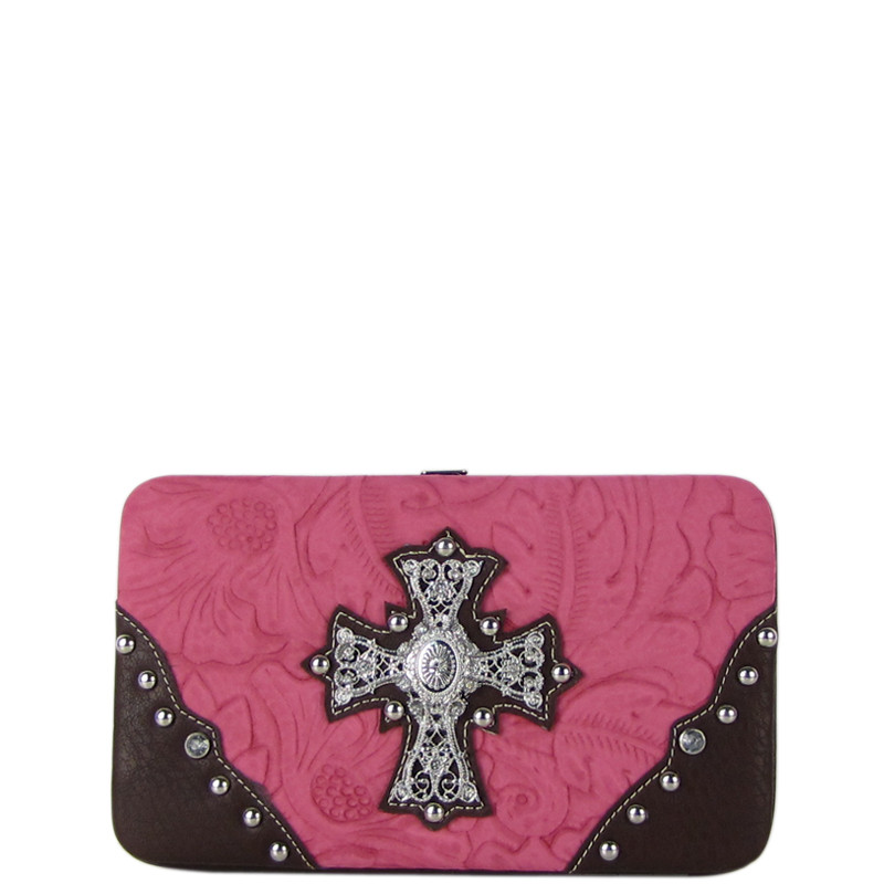 PINK WESTERN RHINESTONE CROSS TOOLED STITCHING FLAT THICK WALLET FW2-0478PNK