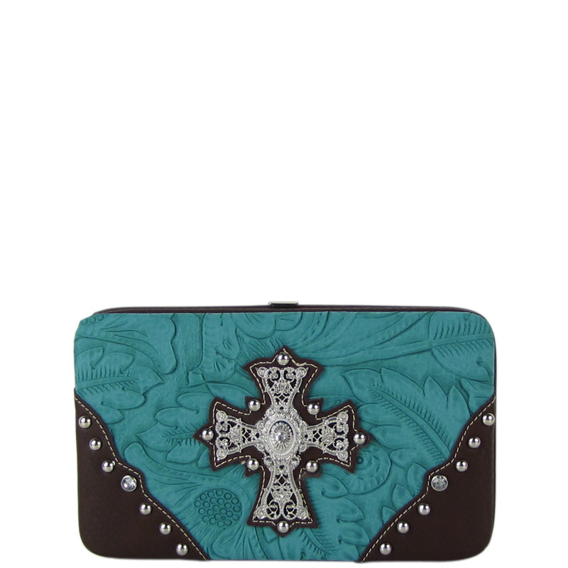 TURQUOISE WESTERN RHINESTONE CROSS TOOLED STITCHING FLAT THICK WALLET FW2-0478TRQ