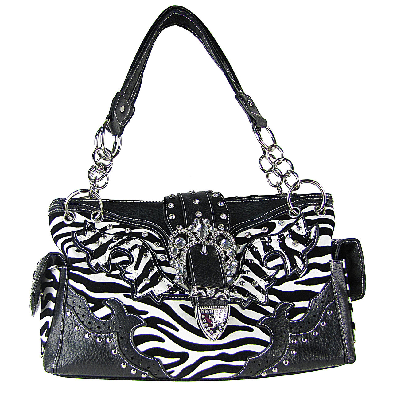 BLACK ZEBRA STUDDED BUCKLE RHINESTONE LOOK SHOULDER HANDBAG HB1-W37FZBLK