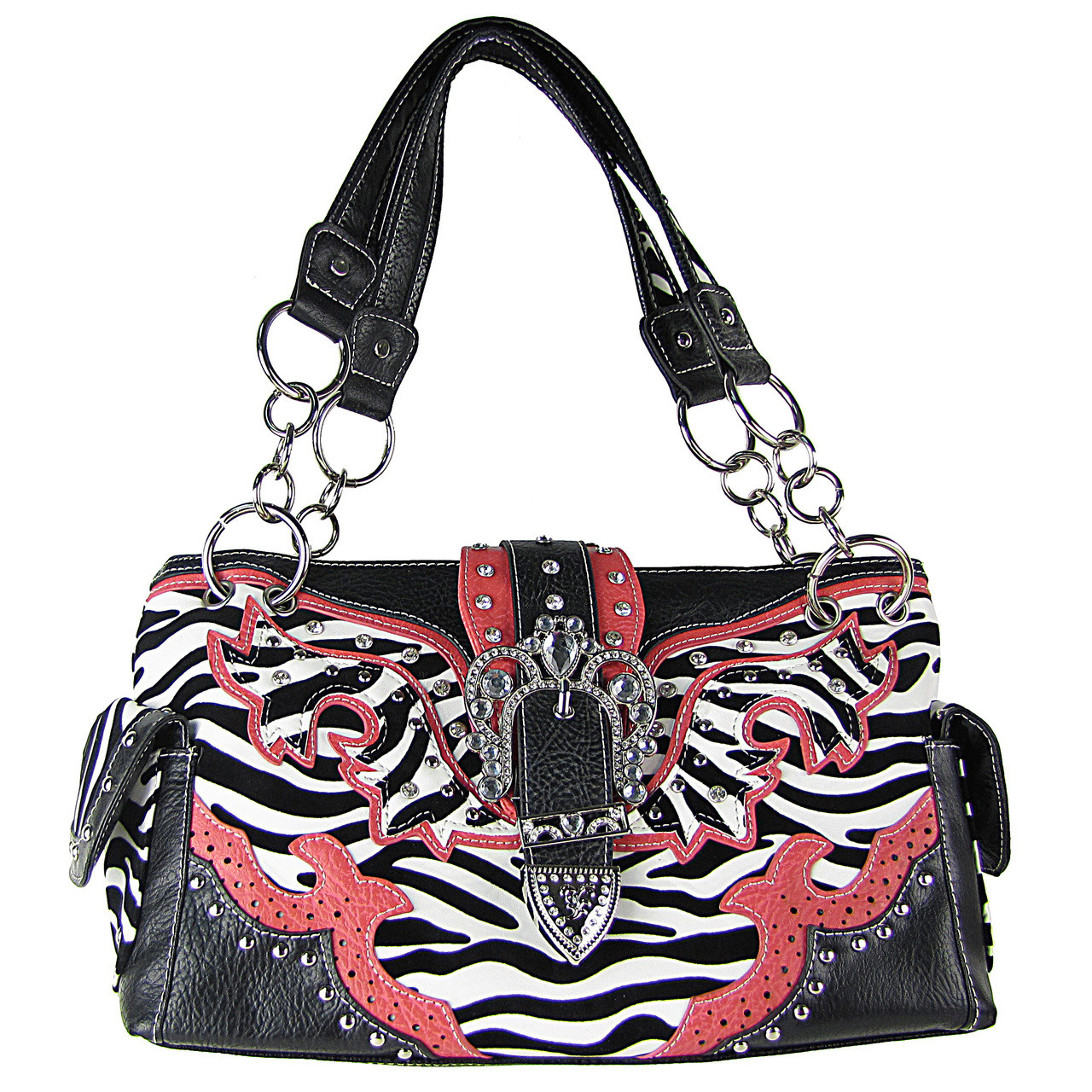 HOT PINK ZEBRA STUDDED BUCKLE RHINESTONE LOOK SHOULDER HANDBAG HB1-W37FZHPK
