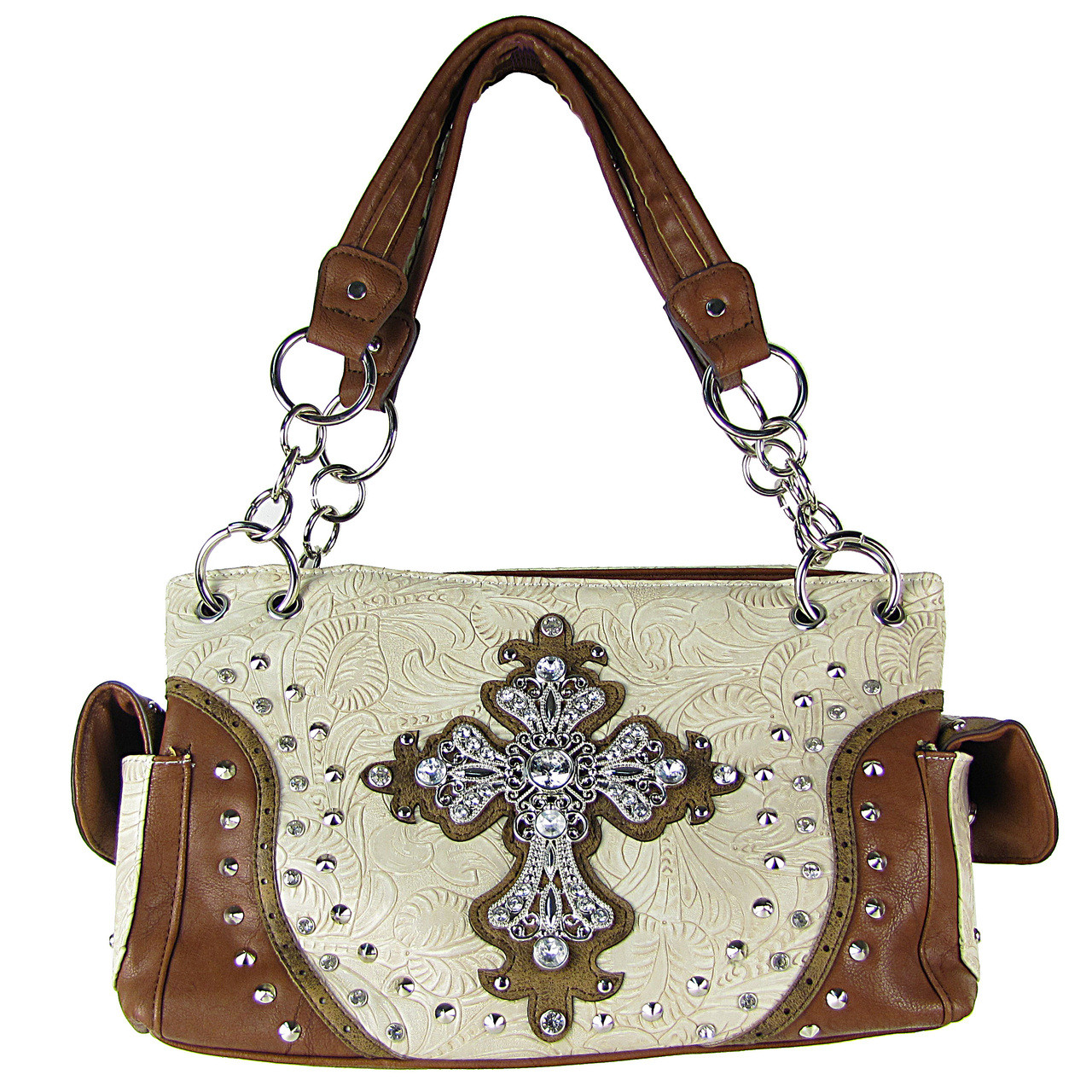 BEIGE STUDDED RHINESTONE CROSS TOOLING LOOK SHOULDER HANDBAG HB1-35LCR-1BEI