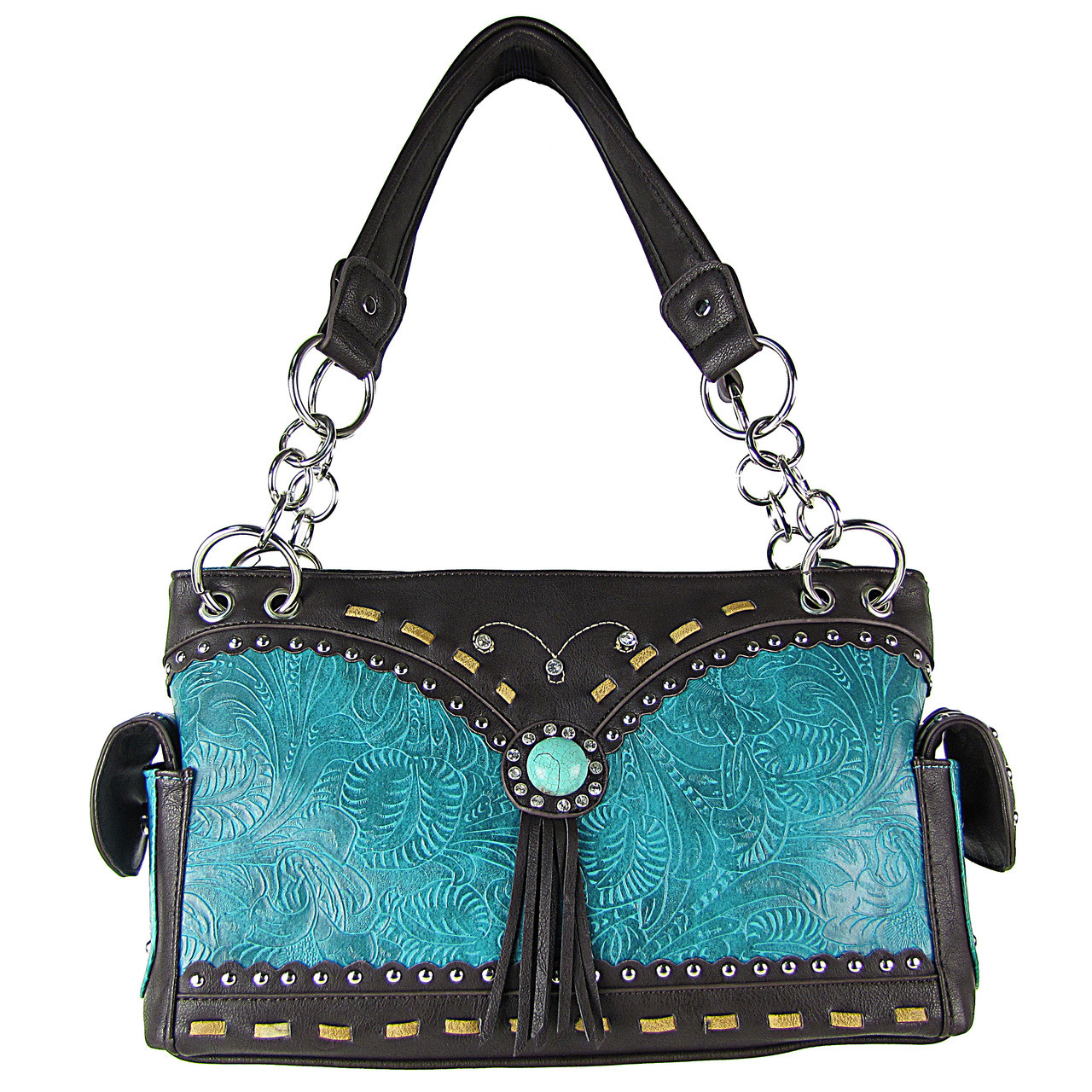 TURQUOISE WESTERN BLUE STONE TOOLED LOOK SHOULDER HANDBAG HB1-39W53TRQ