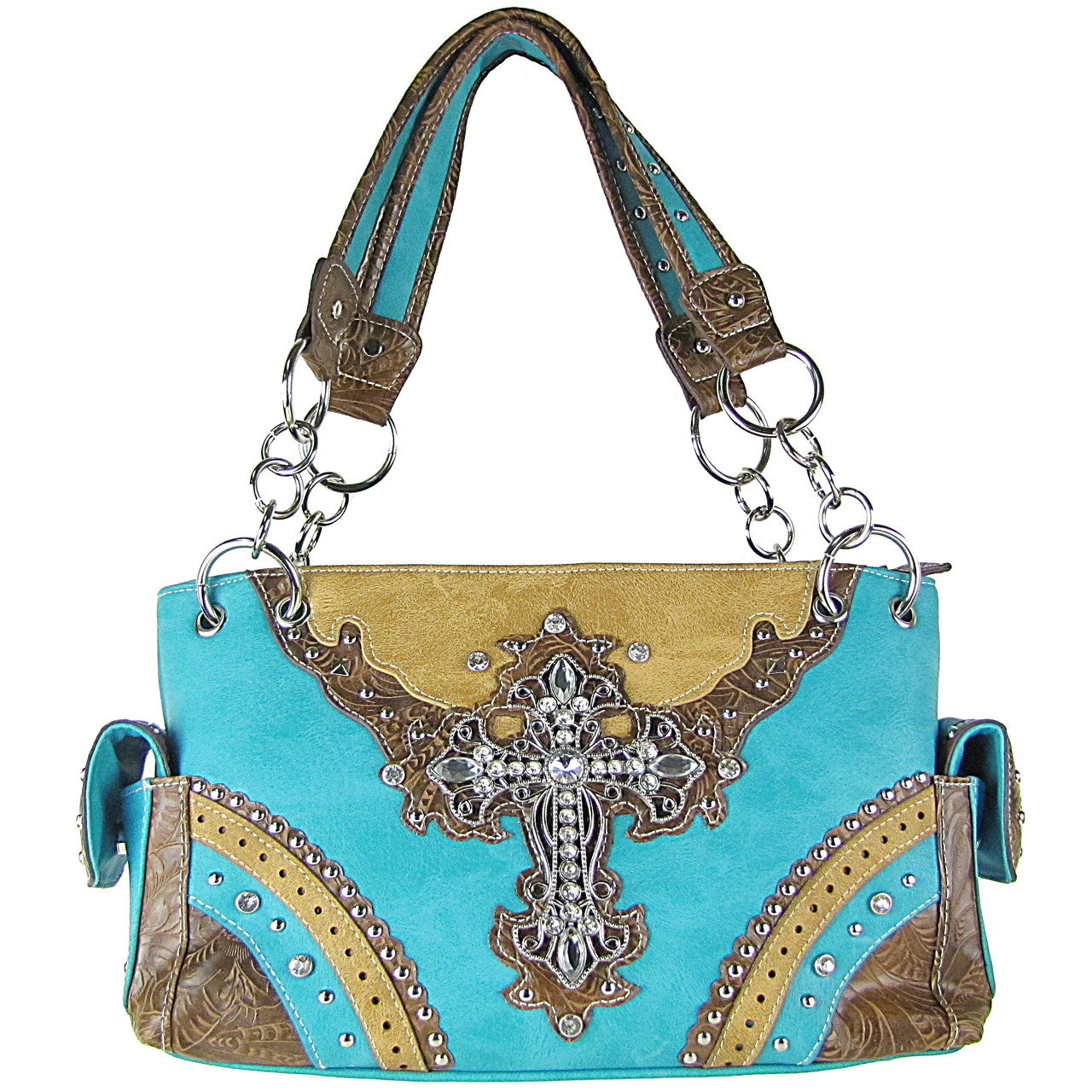 TURQUOISE WESTERN STUDDED RHINESTONE CROSS LOOK SHOULDER HANDBAG HB1-48LCRTRQ