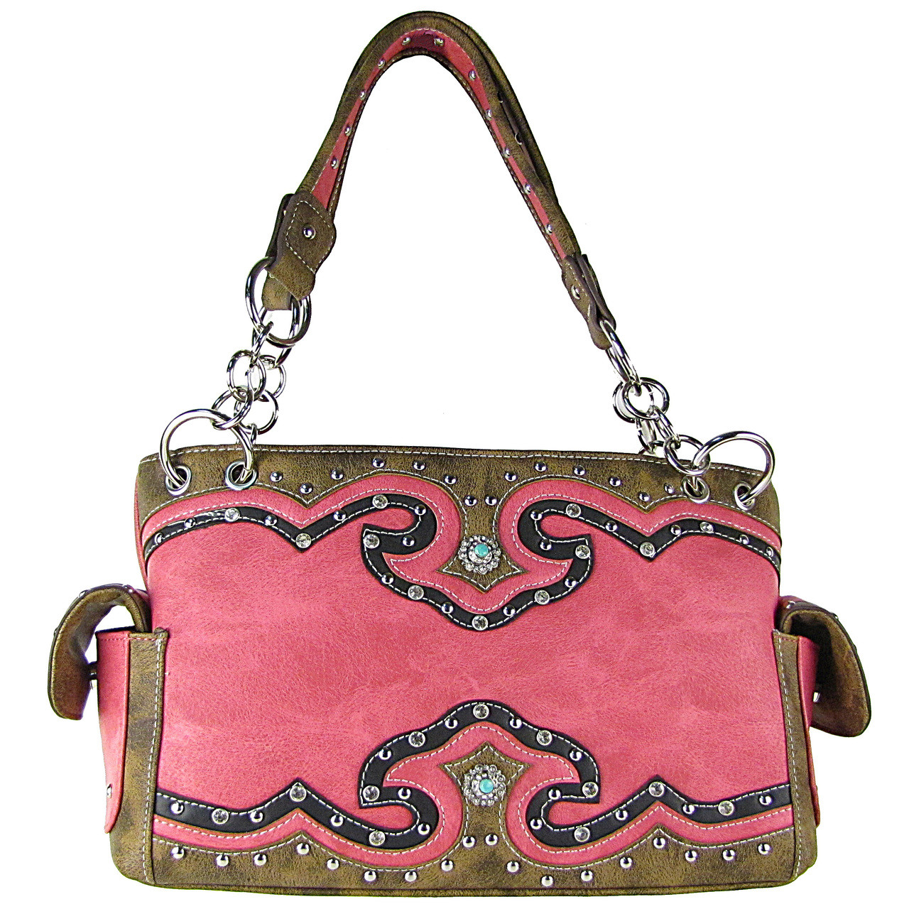 HOT PINK WESTERN STUDDED RHINESTONE BLUE STONE LOOK SHOULDER HANDBAG HB1-39W54HPK