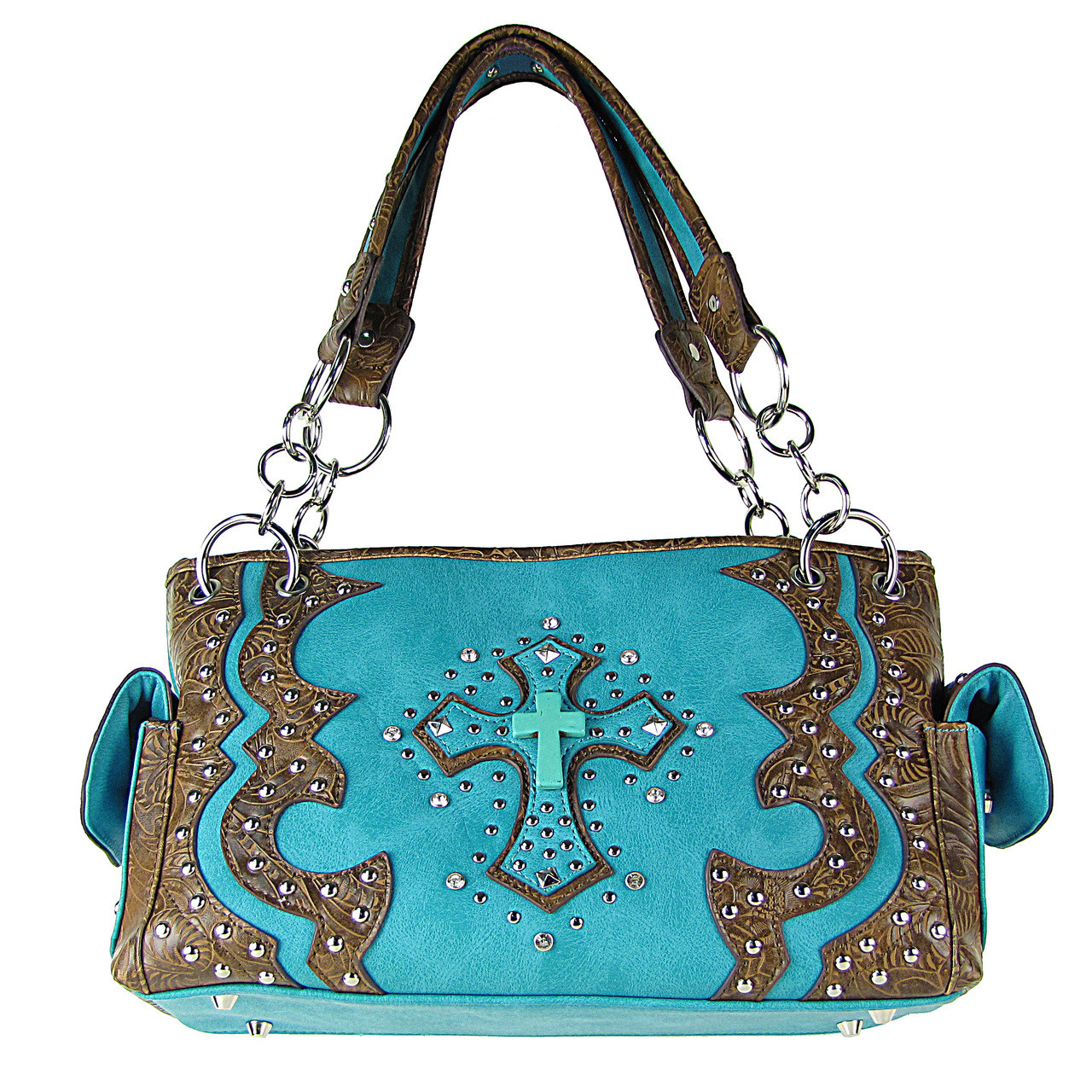 TURQUOISE WESTERN STUDDED RHINESTONE BLUE STONE CROSS LOOK SHOULDER HANDBAG HB1-W6CCRTRQ