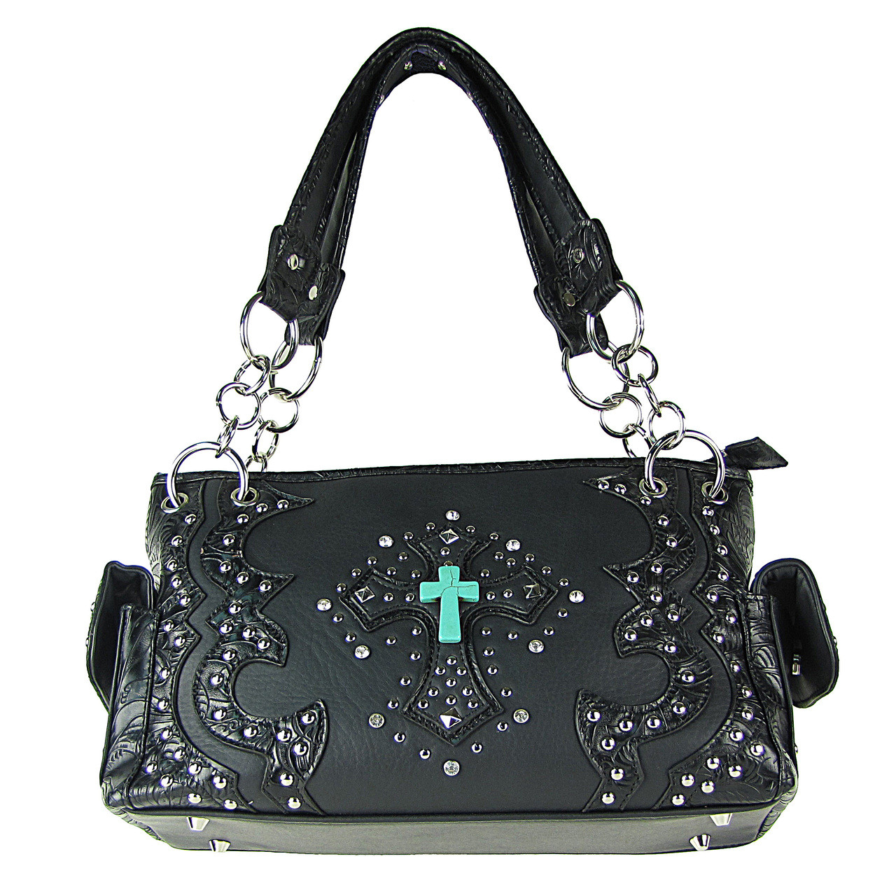 BLACK WESTERN STUDDED RHINESTONE BLUE STONE CROSS LOOK SHOULDER HANDBAG HB1-W6CCRBLK