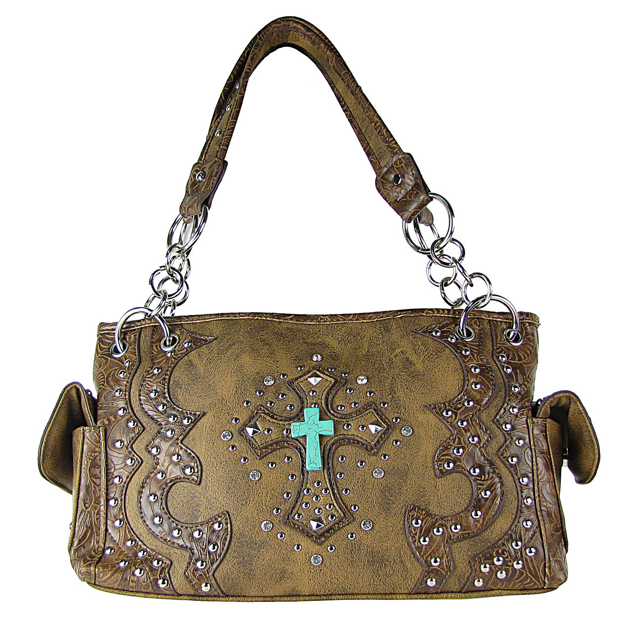 BROWN WESTERN STUDDED RHINESTONE BLUE STONE CROSS LOOK SHOULDER HANDBAG HB1-W6CCRBRN