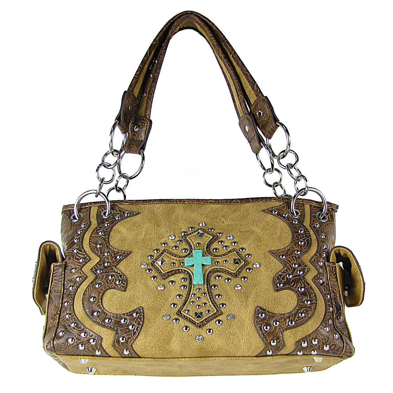 TAN WESTERN STUDDED RHINESTONE BLUE STONE CROSS LOOK SHOULDER HANDBAG HB1-W6CCRTAN