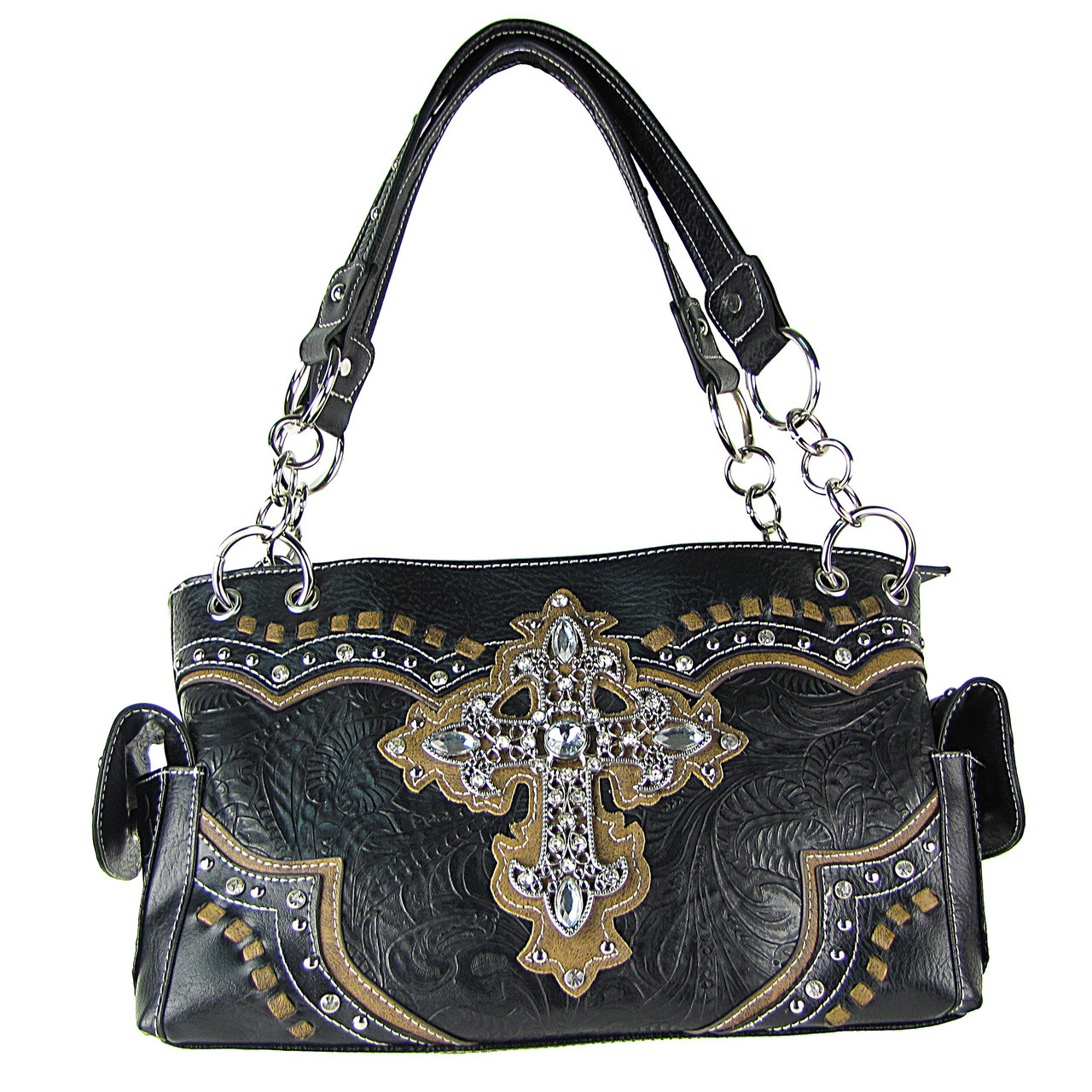 BLACK WESTERN RHINESTONE CROSS LOOK SHOULDER HANDBAG HB1-34LCRBLK