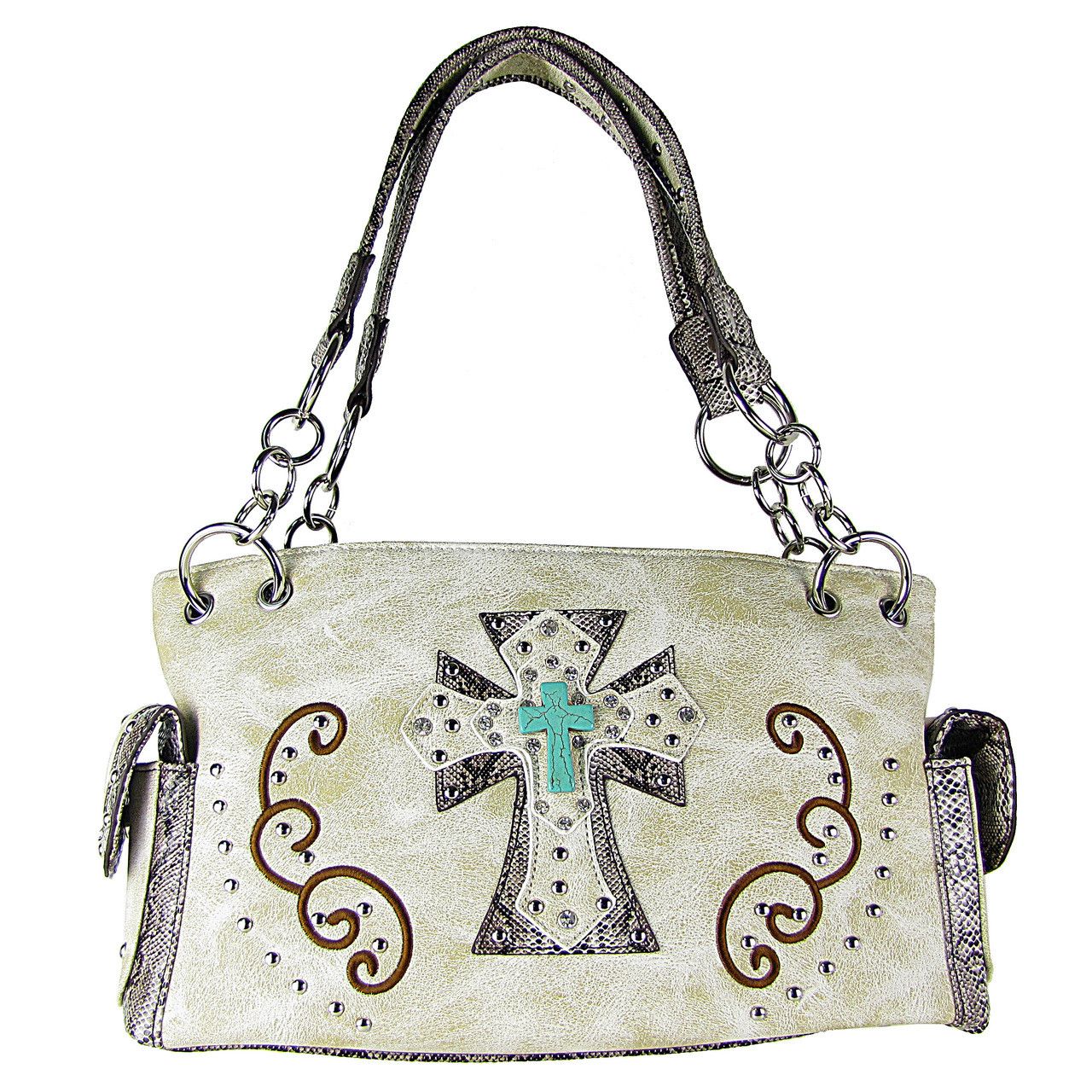 BEIGE REPTILE STUDDED RHINESTONE BLUE STONE CROSS LOOK SHOULDER HANDBAG HB1-W3CCRBEI