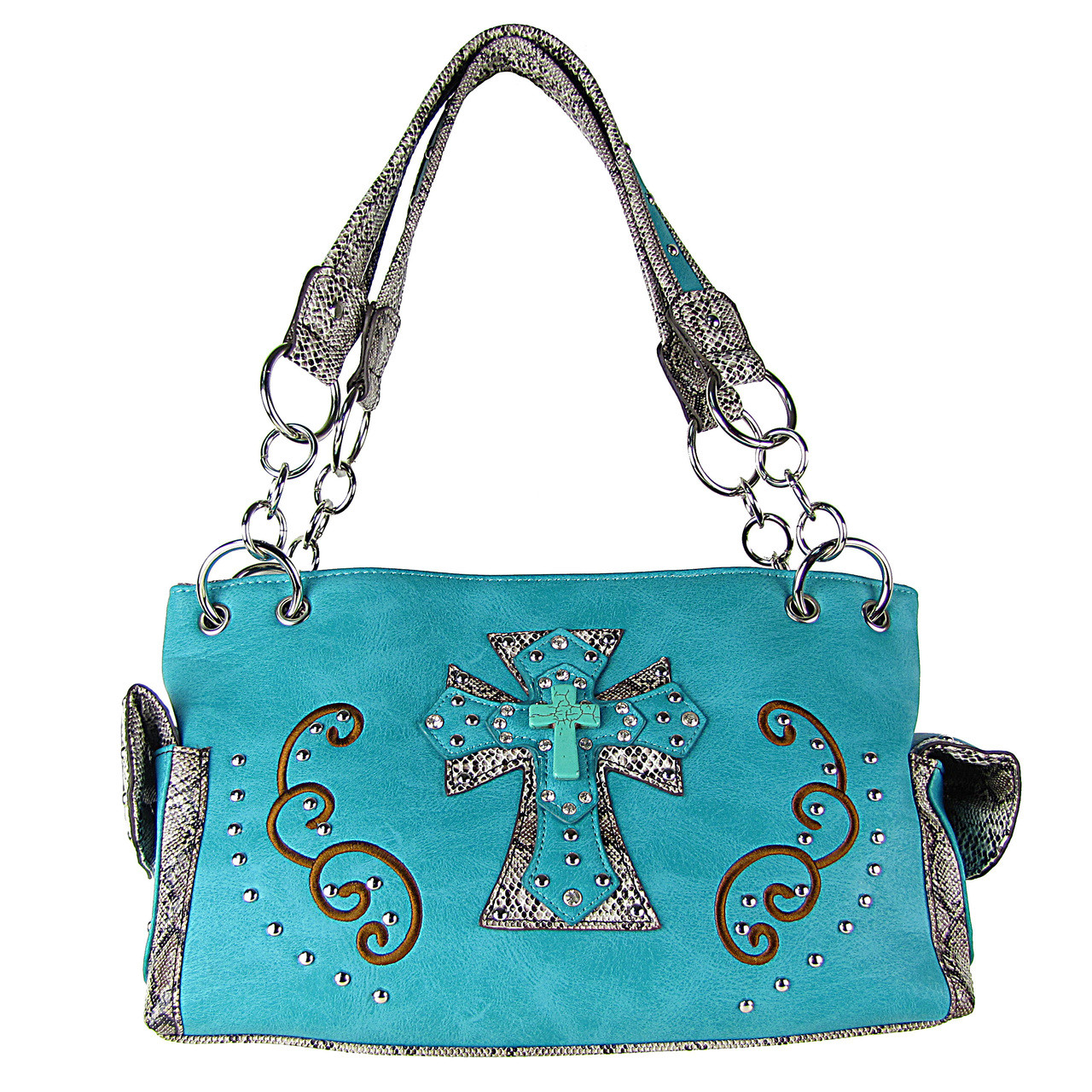TURQUOISE REPTILE STUDDED RHINESTONE BLUE STONE CROSS LOOK SHOULDER HANDBAG HB1-W3CCRTRQ