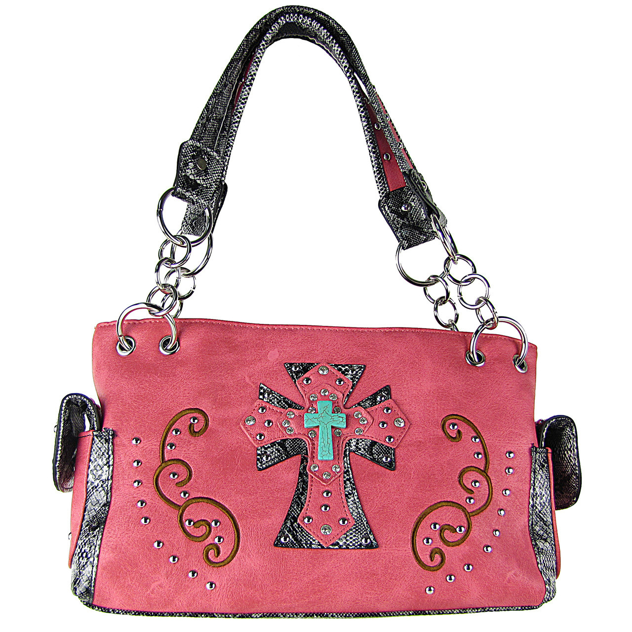 HOT PINK REPTILE STUDDED RHINESTONE BLUE STONE CROSS LOOK SHOULDER HANDBAG HB1-W3CCRHPK