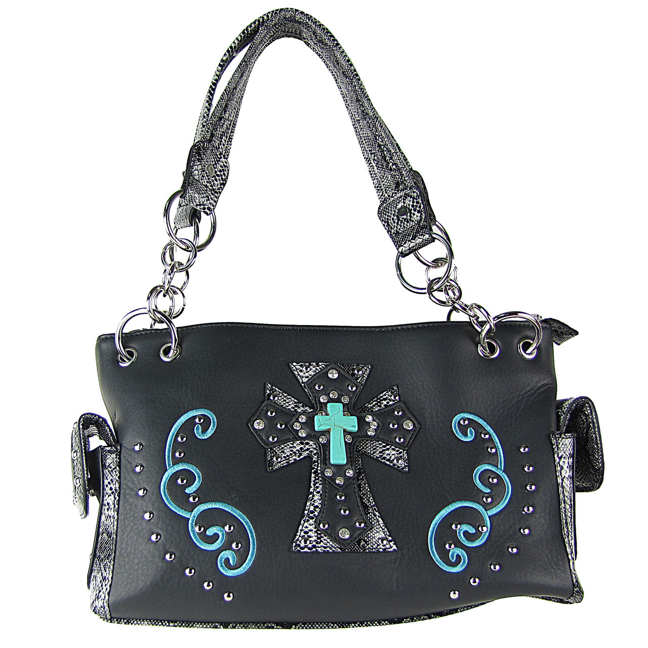 BLACK REPTILE STUDDED RHINESTONE BLUE STONE CROSS LOOK SHOULDER HANDBAG HB1-W3CCRBLK