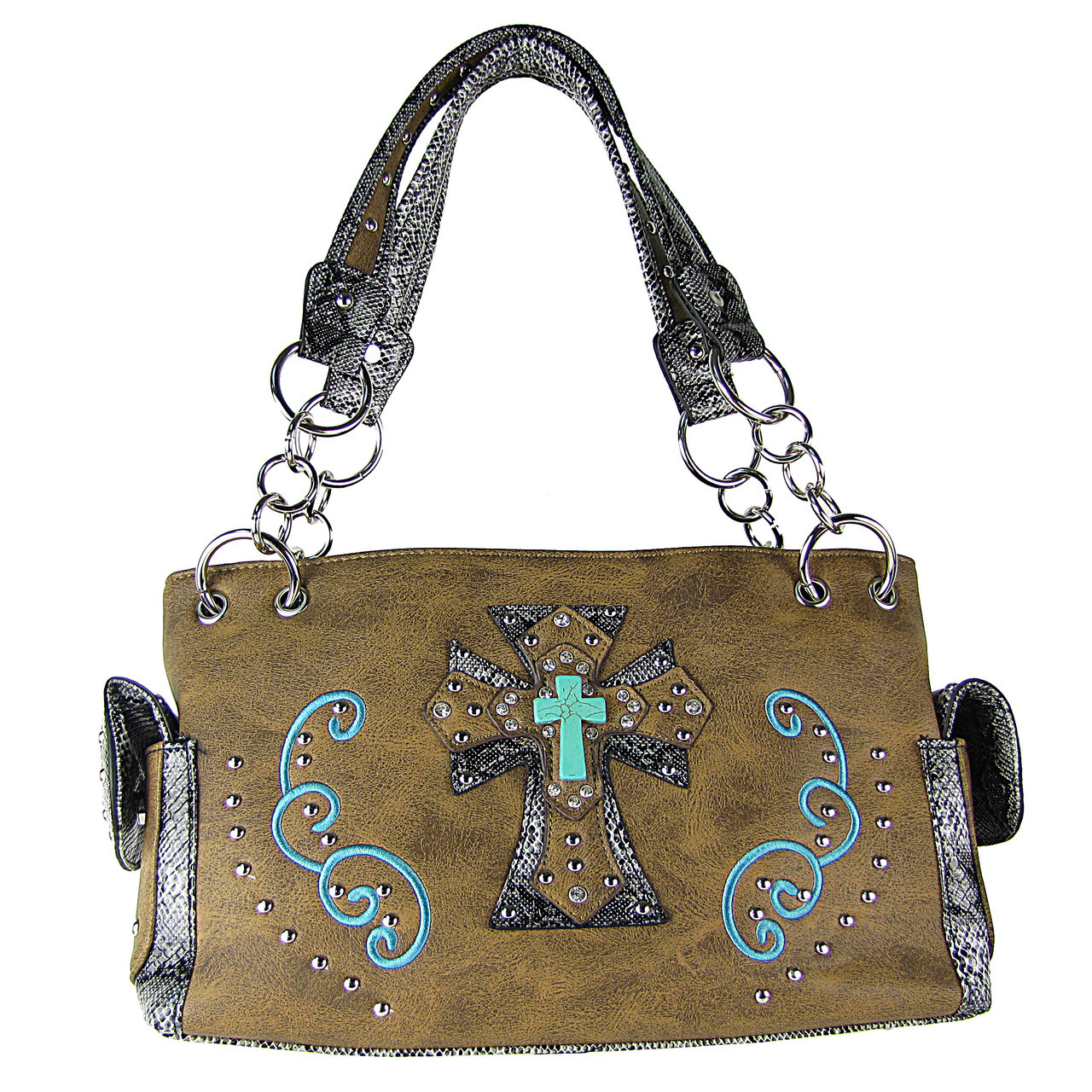 BROWN REPTILE STUDDED RHINESTONE BLUE STONE CROSS LOOK SHOULDER HANDBAG HB1-W3CCRBRN