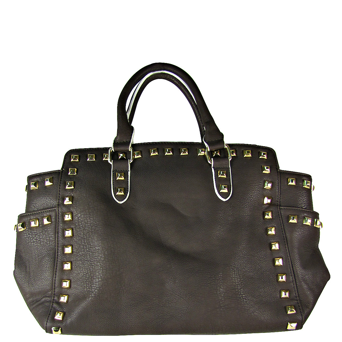 BROWN STUDDED LEATHERETTE LOOK SHOULDER HANDBAG HB1-HC0077BRN